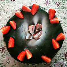 Strawberry fields forever  Cake with hot choccolate mousse and strawberry mousse.