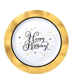 Metallic Gold Birthday Premium Plastic Dessert Plates have a metallic gold border. Make the table at your next birthday party shine with these small plastic plates! Birthday Pins, Adult Birthday Party, Happy Birthday Parties, Gold Birthday, Birthday Party Themes, Birthday Treats, Birthday Cake, Happy Birthday Printable, Kids Party Supplies