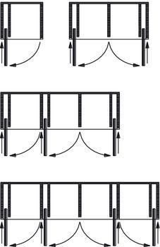 Pivot Sliding Door System, for Cabinet Doors, Fittings and Runners, HAWA-Concepta - Häfele U. Sliding Cabinet Doors, Sliding Pocket Doors, Sliding Door Systems, Pivot Doors, Sliding Glass Door, Diy Kitchen Cabinets, Kitchen Cabinet Doors, Sliding Door Window Treatments, Door Fittings