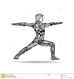 Vector Yoga Illustration In Zentangle Style. Man In Yoga Pose. Stock Vector - Image: 54554856