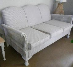 Imbuia couch, re-upholstered with a modern Hertex fabric and techniqued with a French linen mix Hertex Fabrics, Sofa, Couch, French, Antiques, Modern, Furniture, Home Decor, Antiquities