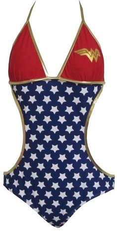 Wonder Woman Stars Logo Triangle Monokini One Piece Bathing Suit Licensed S-XL