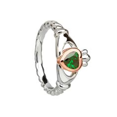 Sterling Silver & Rose gold Claddagh ring with centre green stone Irish Jewelry, Gold Jewelry, Gold Claddagh Ring, Ring Crafts, Ring Size Guide, Stone Heart, Green Stone, Gemstone Rings, Wedding Rings