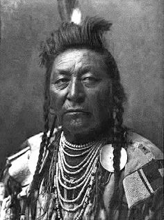 Plenty Coups (Aleek-chea-ahoosh) (1848-1932) was a Crow chief and visionary leader. (Wikipedia) - Photo by Edward S. Curtis, 1908. (B&W copy)