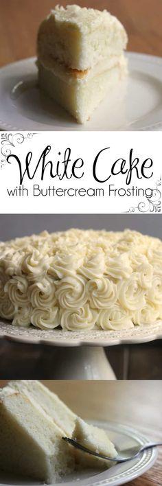 Making A Bakery Quality White Cake With Buttercream Frosting White Cake Wedding Cake Birthday Cake Best White Cake Köstliche Desserts, Delicious Desserts, Yummy Food, Cupcakes, Cupcake Cakes, Cupcake Recipes, Dessert Recipes, Cheesecake Recipes, Homemade White Cakes