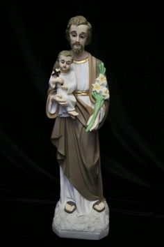"""St. Joseph with Child Statue, Hand Painted, Marble Composite - 19""""H - Multi-Color"""