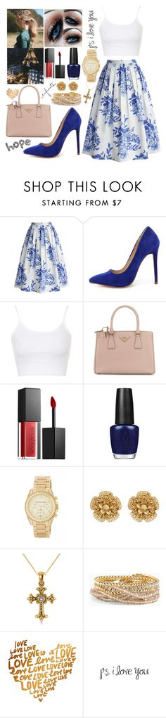 """""""🔹"""" by giuliacarolline ❤ liked on Polyvore featuring Chicwish, Liliana, Topshop, We All Shine By MINKPINK, Prada, Smashbox, OPI, MICHAEL Michael Kors, Miriam Haskell and Allurez"""