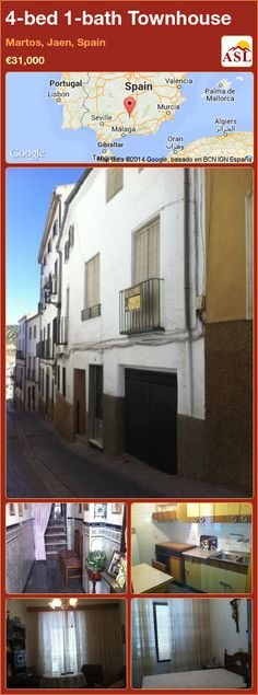 Townhouse for Sale in Martos, Jaen, Spain with 4 bedrooms, 1 bathroom - A Spanish Life Murcia, Valencia, Portugal, Juliet Balcony, Entrance Hall, Cool Kitchens, Townhouse, Spanish, Home And Family