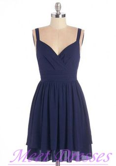 Elegant Navy Blue Bridesmaid Dresses 2015 Fashion With Straps Chiffon Short Prom…