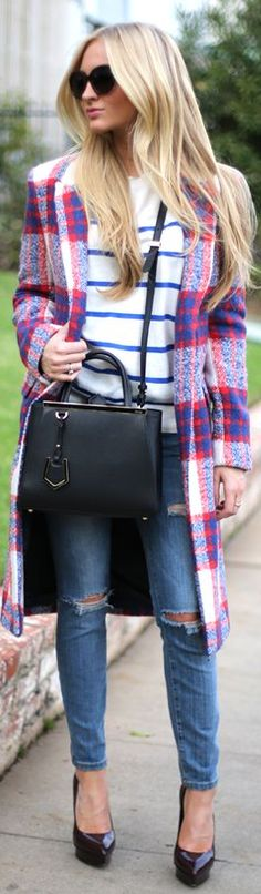 Stripes and Plaid Combo with a Fendi Bag | The House of Beccaria