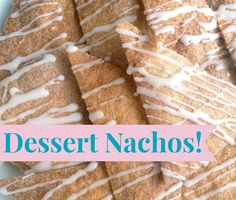 This cinnamon coated dessert nachos are my new favourite snack! You can whip them up in or less and they're dairy free too! Dessert Nachos, Cake Business, Dairy Free, Cinnamon, Bakery, Bread, Snacks, Canning, Breakfast