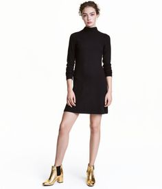 Check this out! Short, fitted dress in ribbed viscose jersey with a mock turtleneck and long sleeves. - Visit hm.com to see more.