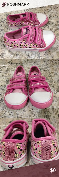 🌴NEW LISTING🌴 Disney Minnie Mouse Sneakers Pink. Velcro fasteners. Shows sign of wear.  Rubber is soiled. Size 10. (4/6) Disney Shoes Sneakers