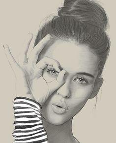 """Three-O"" - Kei Meguro {contemporary figurative realism art female head hand woman face portrait drawing #loveart} Model: Gabby Westbrook-Patrick. #loveart"