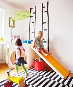 Nursery Notations: Inspirational Playrooms, love the idea of some sort of climbing/slide place for kiddos to get energy out on rainy days.