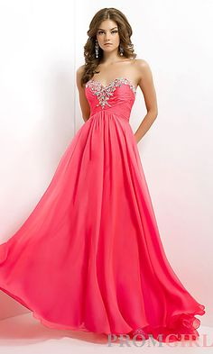 "We have this dress in ""Barbie Pink."" Formal Strapless Gown by Blush 9717 at PromGirl.com"