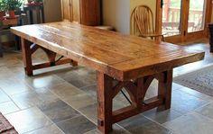 Furniture , Rustic Oak Farmhouse Table : Large Oak Farmhouse Table For Dining Room