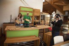 Die neue grüne Küche, das Grün ist übrigens Leder.