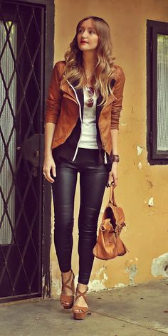 cute outfit! love the combo of black and cognac brown.