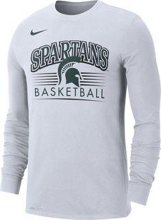 0b07d421031 Nike Men's Michigan State Spartans Dri-FIT Retro Long Sleeve Basketball  White T-Shirt