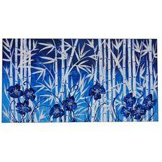 """Quadri Moderni Esotici """"Bambù e Fiori Blu"""" Materico acrilico con malte e screpolature. Monocromatico in blu, personalizza con stile il living room, soprattutto se caratterizzato da un arredamento tendenzialmente al bianco."""