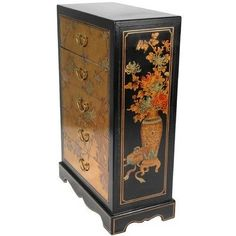 """Oriental Furniture Gold Leaf Five Drawer Chest by ORIENTAL FURNITURE. $429.00. Features an elegant birds and blossoms design. Five drawers provide organized storage. Well built using sturdy cabinetry. Drawers measure 19""""w by 10""""d by 4""""h. Finished in a durable medium gloss hard lacquer. Classic ming dynasty design small chest with 5 drawers. hand painted with a birds and blossoms oriental art design and finished in a medium gloss gold lacquer. at just under two feet tal..."""
