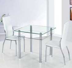 Como Square Clear Glass Dining Table And 2 Ivory Pisa Chairs   1547 Glass  Dining Table And 4 Chairs In A Wide Range Of Styles At Furniture In Fashion.