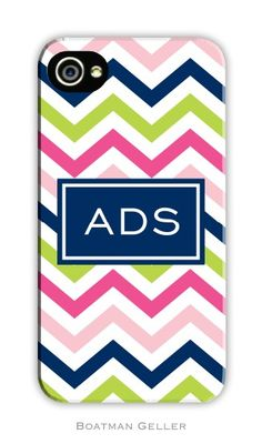 Chevron Pink, Navy & Lime Cell Phone Case - $58