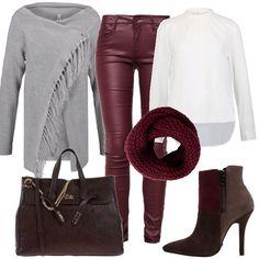 Mix di stili, dall'effetto davvero carino. Pantaloni grintosi in pelle bordeaux, abbinati ad una blusa bon ton ed un caldo e romantico cardigan, dai toni neutri. La borsa e stivaletto davvero grintosi. insolito , ma di grande effetto l'abbinamento di marrone e bordeaux. Per chi ha carattere. Teacher Outfits, Office Outfits, Casual Chic, Classy Winter Outfits, Winter Stil, Camo Print, Urban Fashion, Fashion Outfits, Fashion Trends
