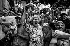 Photo by 2017 editorial grant winner @alecegarra | CARACAS, VENEZUELA - NOVEMBER 2013:A group of woman shouts slogans against Venezuela's opposition during a political rally in front the national Parliament. Project:Living with Hugo Chavez's Legacy - Alejandro will continue his examination of Venezuela's economic decline, political instability and increasing violence in the wake of Hugo Chavez's death in 2013. After years of an oil-fueled economic boom that helped Chavez retain support for…