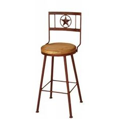 If your long legged cowboy enjoys swiveling while drinking his beer, then this rustic bar stool is just right for you!  Place it next to a kitchen island or one of our iron bistro tables.  The height to the seat is 24 inches.  Wherever you use this rustic southwestern stool you'll enjoy the height and elevated vantage point it gives you. Handmade in Mexico.
