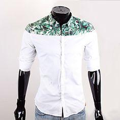 CUBFACE Men's White Business Leisure Long Sleeve Color Contrast Cotton Shirt