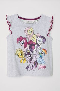 Jersey Top with Printed Design - Gray melange/My Little Pony - Kids Dresses Kids Girl, Girl Outfits, Pencil Bags, Hoodie Dress, Fashion Company, My Little Pony, Baby Dress, Mens Tops, Cotton