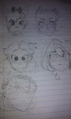 Doodles...And also some single pringles. Thalia is straight, Haru is lesbian, Adrianne is straight, Yami is bi, and Pansy is pan. (Thalia is crushing)