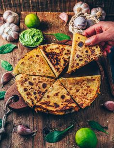 These easy Vegan Sweet Potato Quesadillas loaded with blacks bean, corn and dairy-free cheese make a perfect quick meal or snack. They're gluten-free, healthy, flavorful, cheesy and very simple to make. Best Vegetarian Recipes, Mexican Food Recipes, Healthy Recipes, Quesadillas, Sweet Potato Quesadilla, Vegetarian Quesadilla, Filling Snacks, Baked Avocado, Dairy Free Cheese