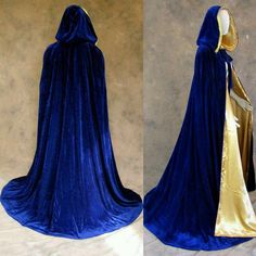 Extra Off Coupon So Cheap Lined Blue Velvet Gold Renaissance Cloak Cape Wedding Wicca Medieval SCA Cosplay Medieval Fashion, Medieval Clothing, Historical Clothing, Mode Outfits, Fashion Outfits, Medieval Cloak, Kleidung Design, Mein Style, Fantasy Dress
