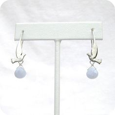 Sterling Silver Flying Dove Earrings with Blue Lace Agate