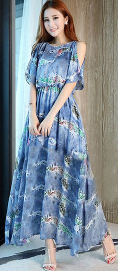 Morpheus Boutique  - Blue Floral Chiffon Off Shoulder Hem Celebrity Long Dress, CA$205.11 (http://www.morpheusboutique.com/new-arrivals/blue-floral-chiffon-off-shoulder-hem-celebrity-long-dress/)