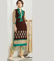 Buy Brown and Cream Coloured Embroidered Georgette Semi-Stitched Salwar Kameez party-wear-salwar-kameez online