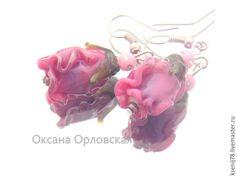 Купить Серьги Перламутровые бутоны - розовый, перламутровый-розовый, серьги, серьги из стекла, купить серьги