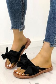 ed4fbb06946f Casual Bow Thong Flat Sandals. Wedge Sandals OutfitStylish SandalsShoes  Heels BootsBootie BootsSlide ...