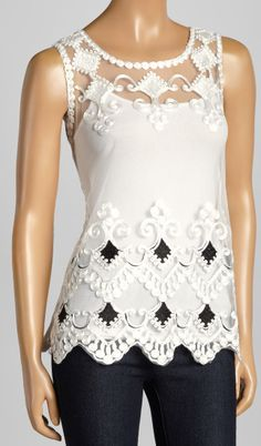 Another Great Find On White Black Fl Lace Tank Jl Burr Wedding Tops