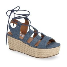 Women's Steve Madden Brayla Wedge Sandal (€85) ❤ liked on Polyvore featuring shoes, sandals, denim fabric, denim wedge sandals, wedge sandals, denim sandals, summer shoes and steve madden shoes