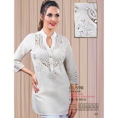 01/598 - BLUSON CUELLO NERU CON ALMILLA EN PATECABRA Y ROCOCO Textiles, Sweaters, Dresses, Fashion, Tejidos, Lace Tops, Fashion Blouses, Dressmaking, Blouse And Skirt