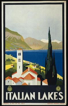 classic posters, graphic design, italian poster, retro prints, travel, travel posters, vintage, vintage posters, Italian Lakes - Vintage Ita...