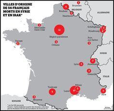 Villes d'origine de 56 français morts en Syrie et en Irak (parution le 22 mars 2016) Libération