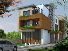 hpl cladding detail - Google Search House Elevation, Front Elevation, Awesome House, Exterior Cladding, Three Floor, Amai, Exterior Design, Floors, Home Goods