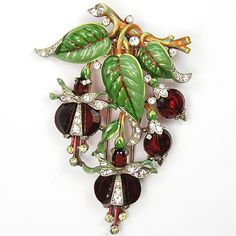 Trifari 'Alfred Philippe' Ruby Demilune Three Enamel Leaves Fuchsia Pin Clip, 1942