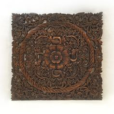 "Oriental Carved Lotus Wood Plaque Available in Dark Brown Finish  24""x24""x0.5"""