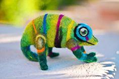 """Needle Felted Very Curious Rainbow Chameleon """"Tattoo"""" Wool Art Felting ooak"""